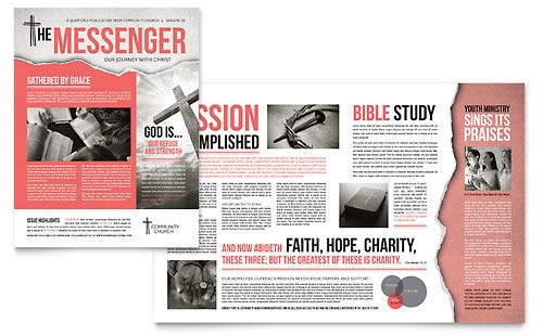 Bible Church Newsletter  Word  Publisher Template  Marketing