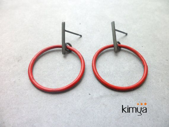 Enamel Drop Oxidized Earring Enameled Earrings Black Silver Post Earring Contemporary Jewelry Oxidized Red Earring Minimalist Earrings