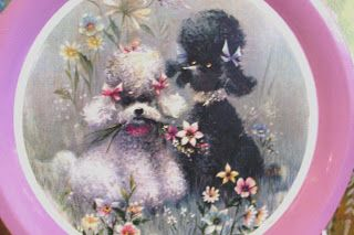 poodle fabric   Vintage poodle tray. Aren't they adorable?
