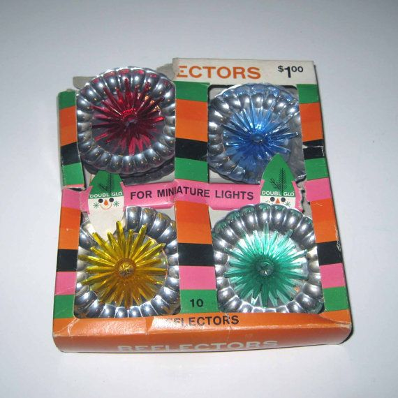 Vintage 1960s Christmas Tree Light Reflectors in Original Box by
