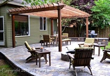 paver patio with pergola. Wonderful With Paver Patio Pergola Fire Pit Seat Wall Lighting  Contemporary Patio And Patio With Pergola G