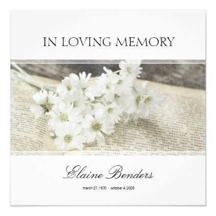 floral Floral Funeral And Memorial Service Invitation floral