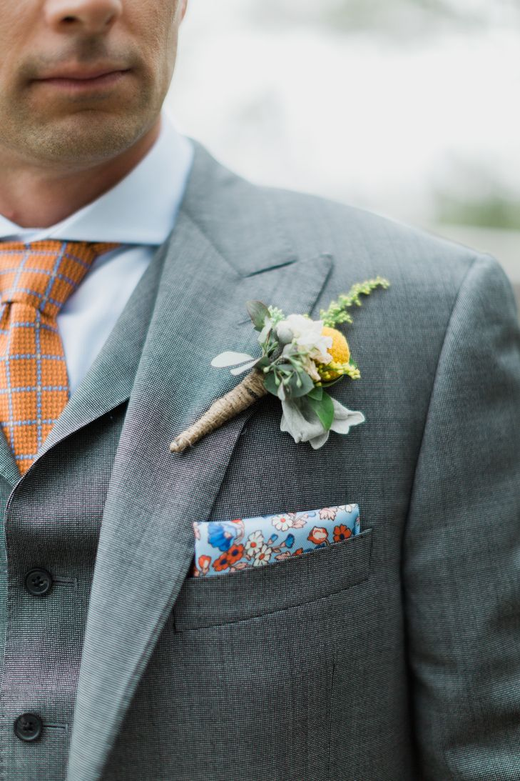 Retro tie and pocket square featuring hues of red, orange and blue + ...