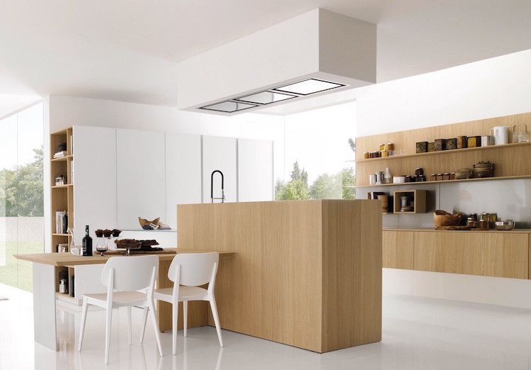 cuisine ilot central avec table manger design moderne pur kitchen cuisine