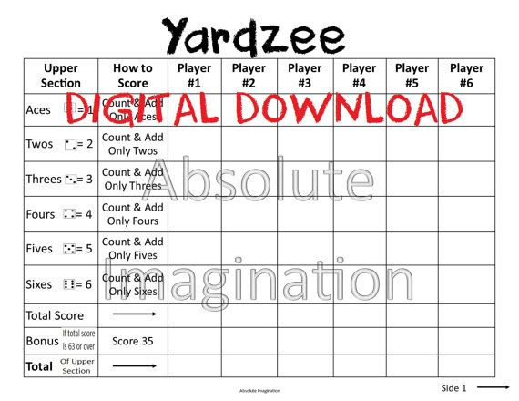 Printable. Large Print. Yardzee Score Card. Yardzee Board. Lawn