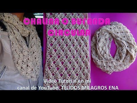 Bufanda o Chalina Circular tejida a crochet fácil y rápido - YouTube ...