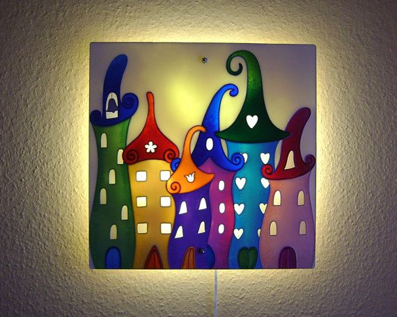 Original painting large glass wall sconce lighting housings light children wall lights fairytale city wall lamp children room aloadofball Image collections
