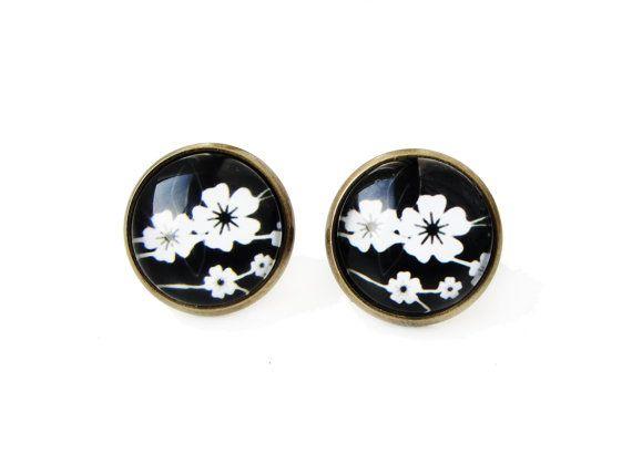 Sakura flowers - small stud post earrings, white and black earrings, 12mm glass dome photo cabochon, image, photo, japanese folk theme