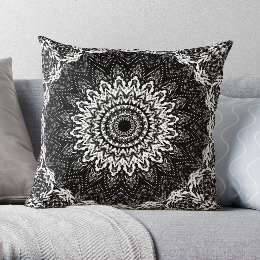 Black and white security mandala: Peace, harmony, goodness, dignity and security. #throwpillow #homedecor #mandalapillow #blackandwhitepillows #cr6zym1nd #bohopillow