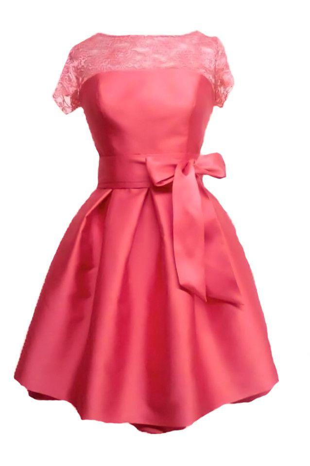 807020177 Vestido de fiesta corto color coral by Alba de Luna