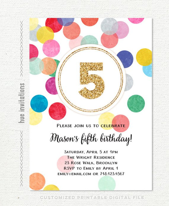 5th Birthday Invitation Rainbow Gold Glitter Fifth For Girl Or Boy Customized