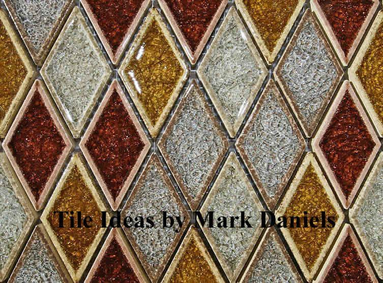 Kitchen tile backsplash ideas - cracked glass harlequin design. I wonder  what the color range