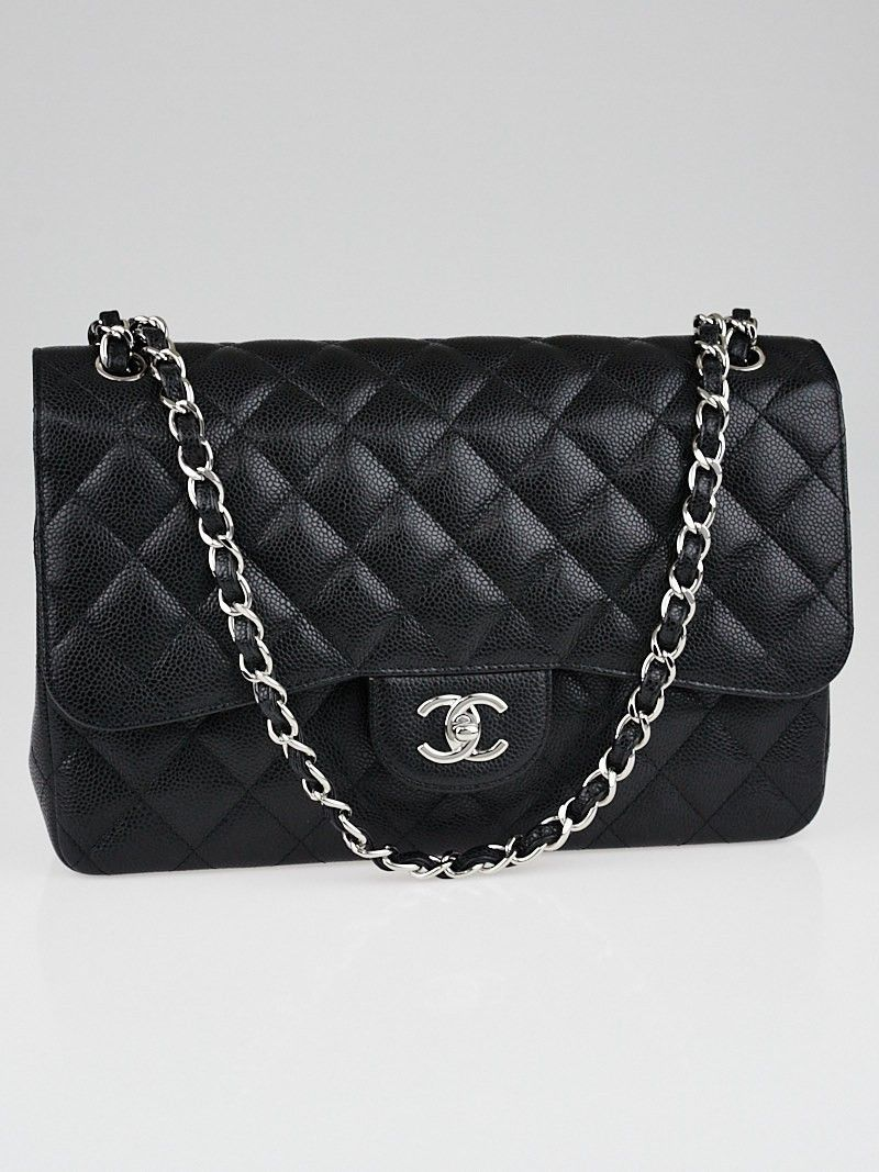8820f32522c6 Chanel Black Quilted Caviar Leather Classic Jumbo Double Flap Bag ...
