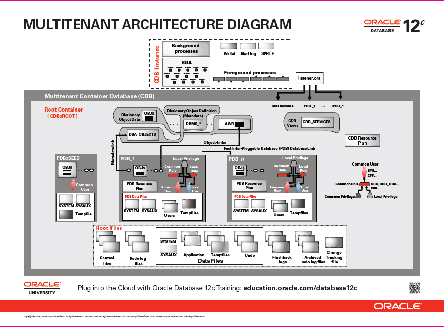 The Oracle Database 12c Multitenant Architecture Diagram Complex