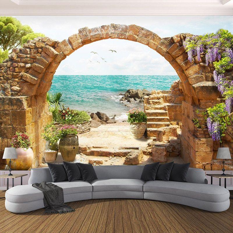 Пользовательские Настенные обои сад каменные арки море вид ...