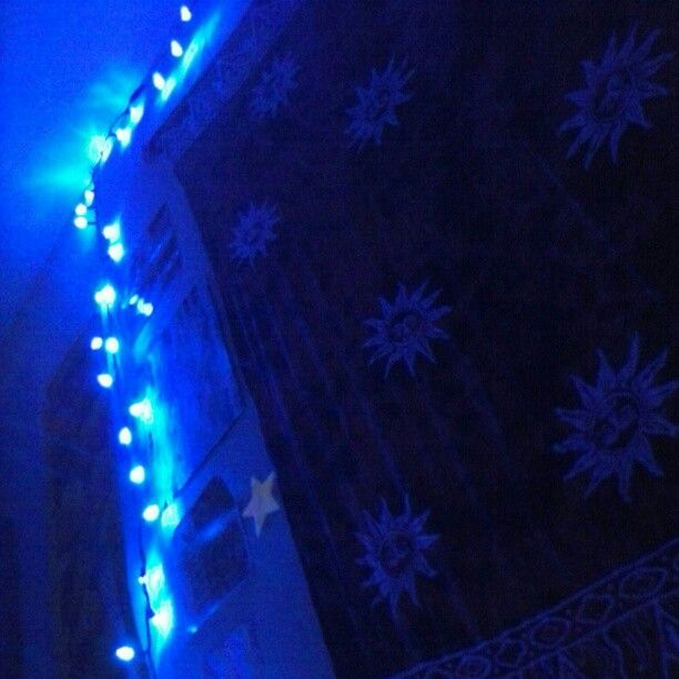 #Favorite part of my #bedroom #tapestry #lights #blue #sun #wall #neato