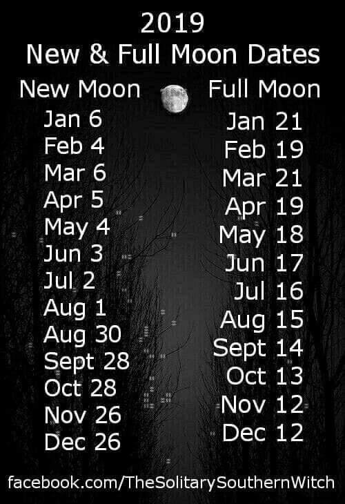 New Moon Calendar For 2019 2019 Full and New Moon Calendar | Magic spells | Moon spells, Moon