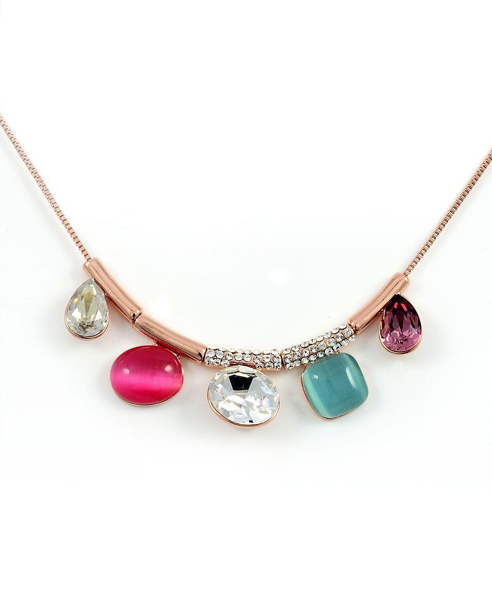 Swarovski Crystal Necklace, 18K White Gold, Mix It Up