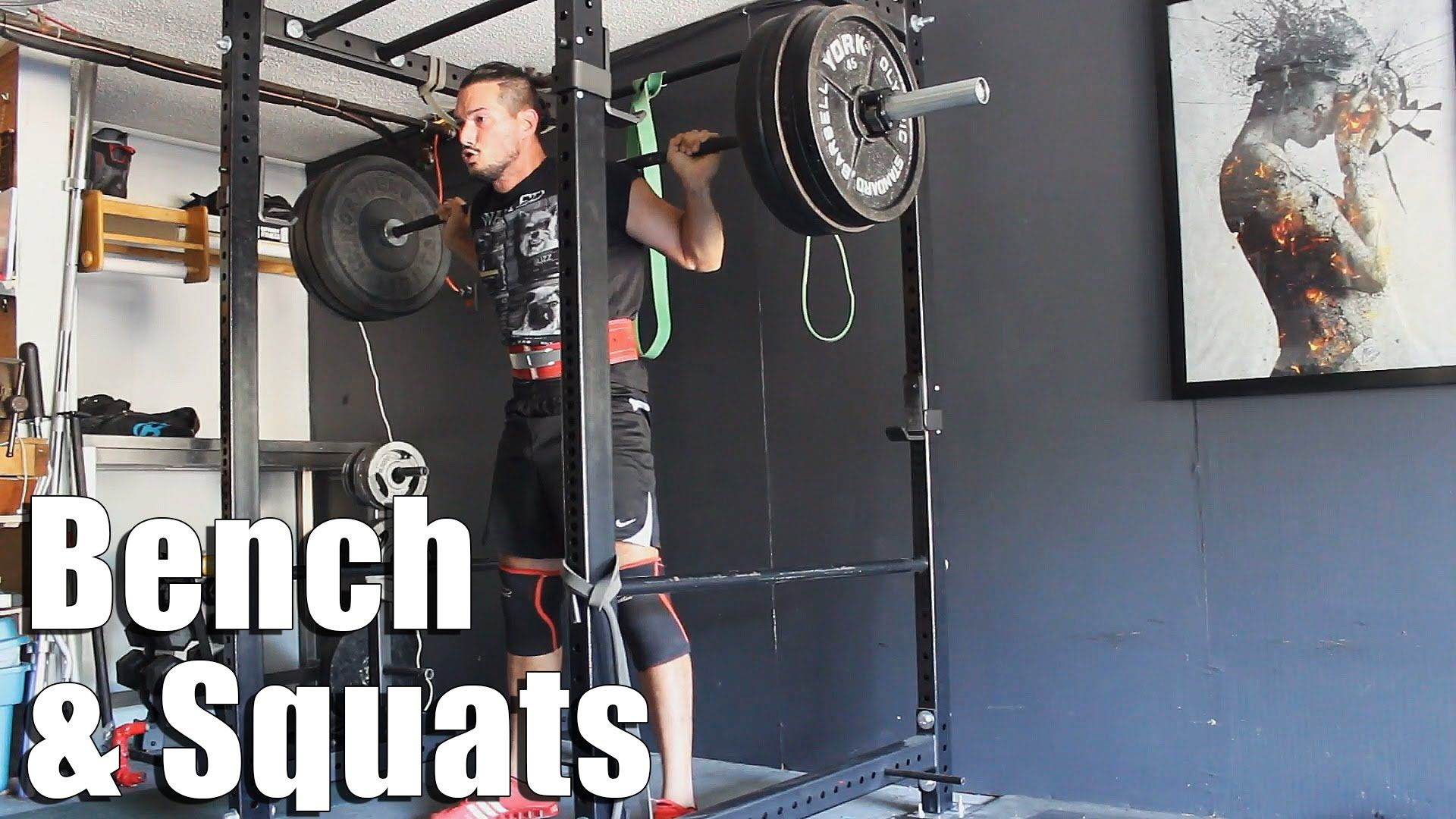 Yesterday S Benchpress Squat Session Worked To 3x5 225lbs 102kg Bench 2x3 405lbs 184kg Squats Followed With Some Deli Squats Bench Press Locker Storage