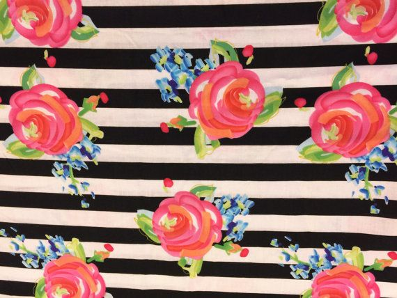 Fabric Black And White Striped Floral Fabric By The Yard Quilt