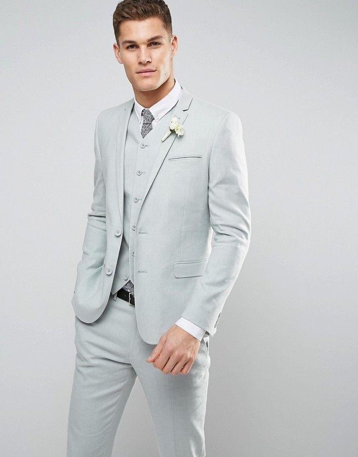 Asos WEDDING Skinny Suit Jacket In Sage Green Stretch Linen Cotton