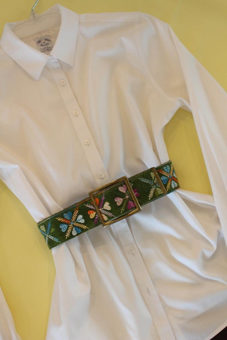 Beautiful handmade Peruvian belt with flowers embroidery Boho Bohemian surf style