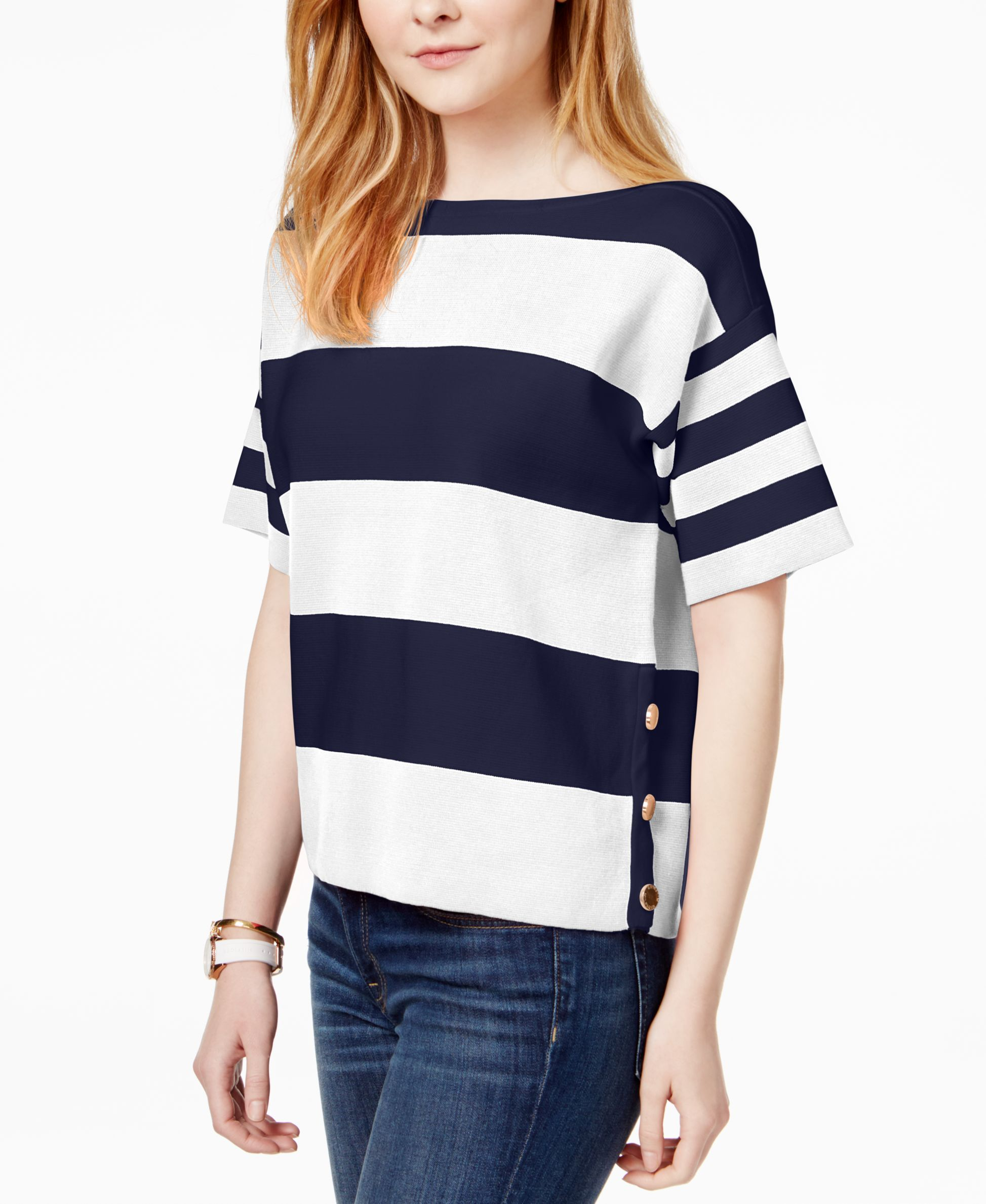 Tommy Hilfiger Cotton ShortSleeve Striped Sweater, Only