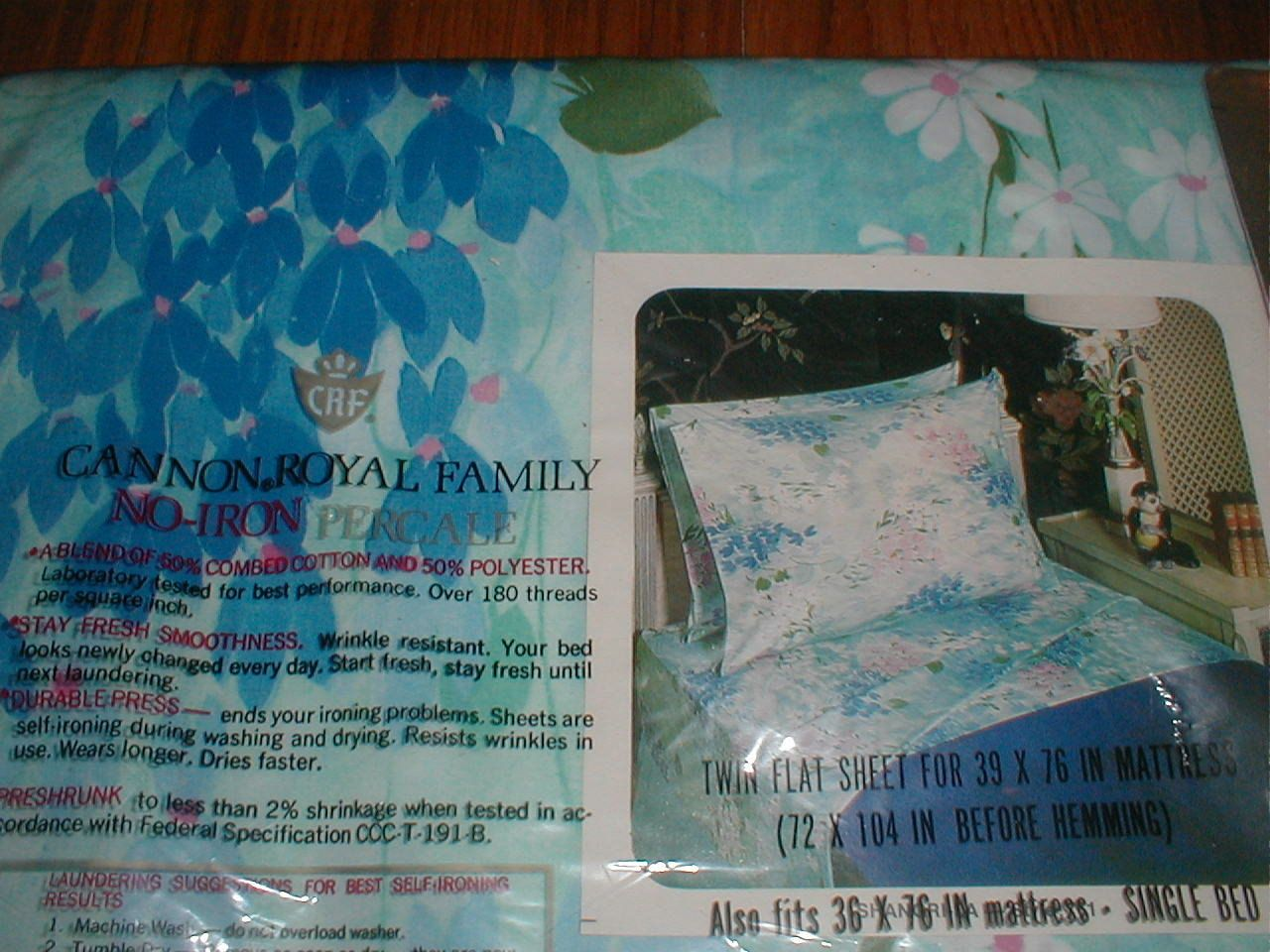 Vintage 1973 Cannon Royal Family Shangri La Pattern Blue Fl Print No Iron Percale 50 Polyester Cotton Also Available In Pink