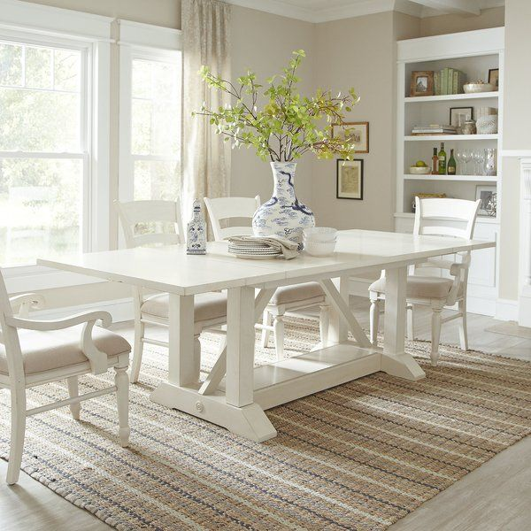 A Lovely Stage For Home Cooked Meals And Casual Conversation This Dining Table Showcases A Plank Extendable Dining Table White Dining Room White Kitchen Table