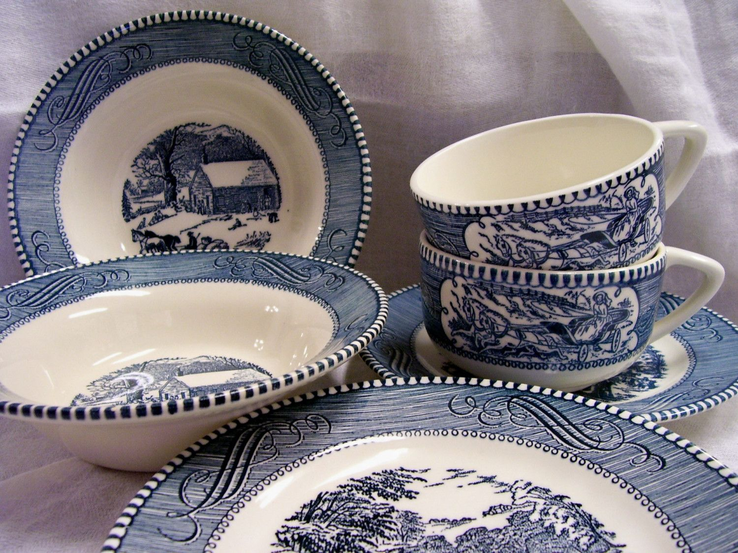 Vintage Blue And White Dishes From Safeway Sale 6 Pcs Vintage