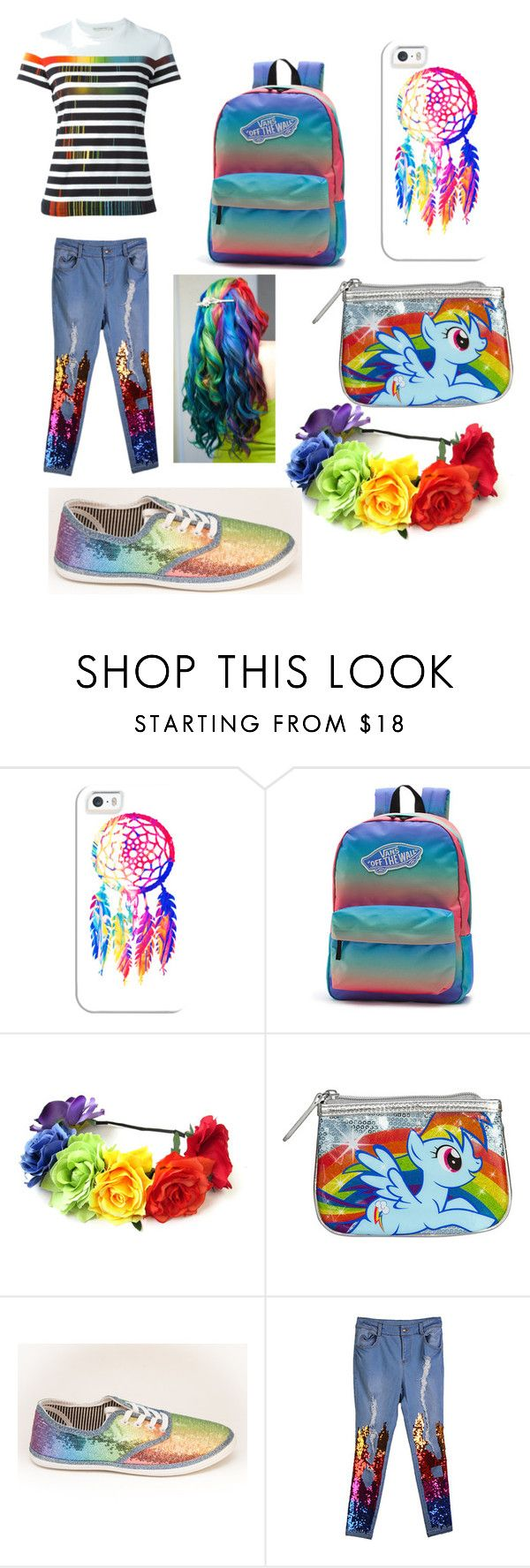 """dash of rainbow"" by babykaely ❤ liked on Polyvore featuring Casetify, Vans, Loungefly and Mary Katrantzou"