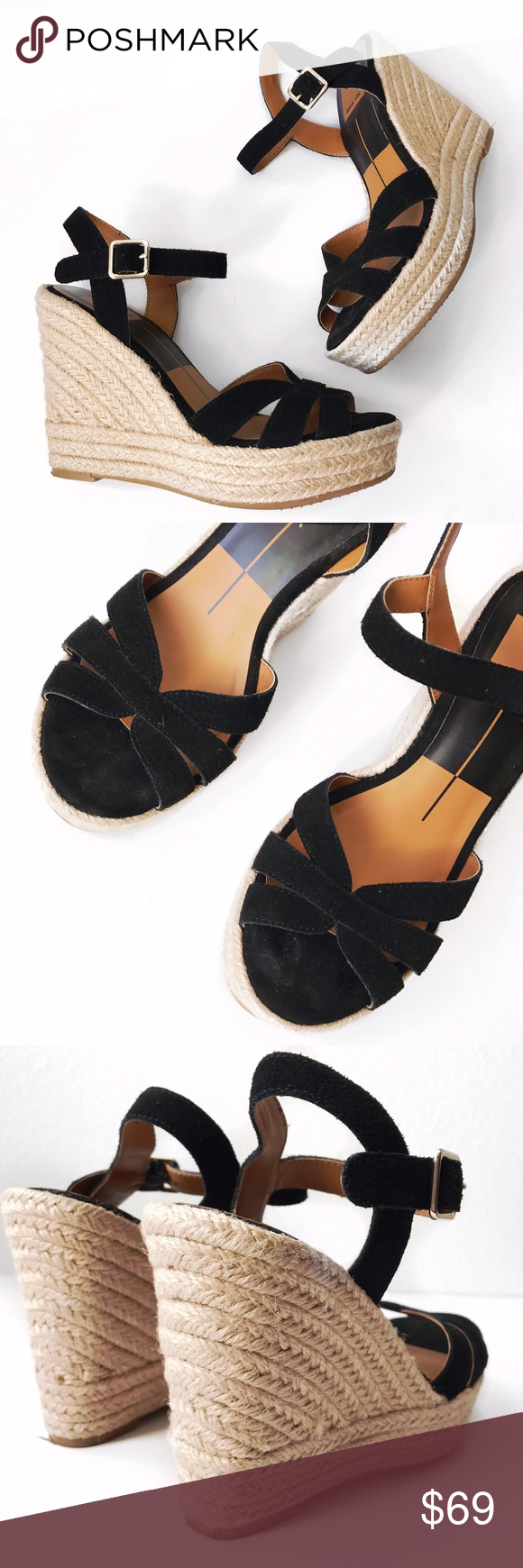 """➡Dolce Vita Black Espadrille Wedges⬅ Slender straps dials up a vacation-style espadrille that's lifted on a woven jute platform wedge. - Open toe.  - Multi vamp straps.  - Ankle strap with buckle closure. - Braided jute wrapped wedge heel and platform.  - Approx. 4.5"""" heel, 1.5"""" platform. Worn very briefly for a shoot, like new.  💕Offers welcome. Take 30% off your entire purchase automatically at checkout when you use the bundle feature, or make an offer for your bundle. Happy Poshing!💕…"""