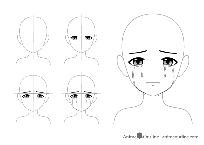 4 Ways To Draw Crying Anime Eyes Tears Animeoutline In 2020 Anime Eyes Anime Crying How To Draw Anime Eyes