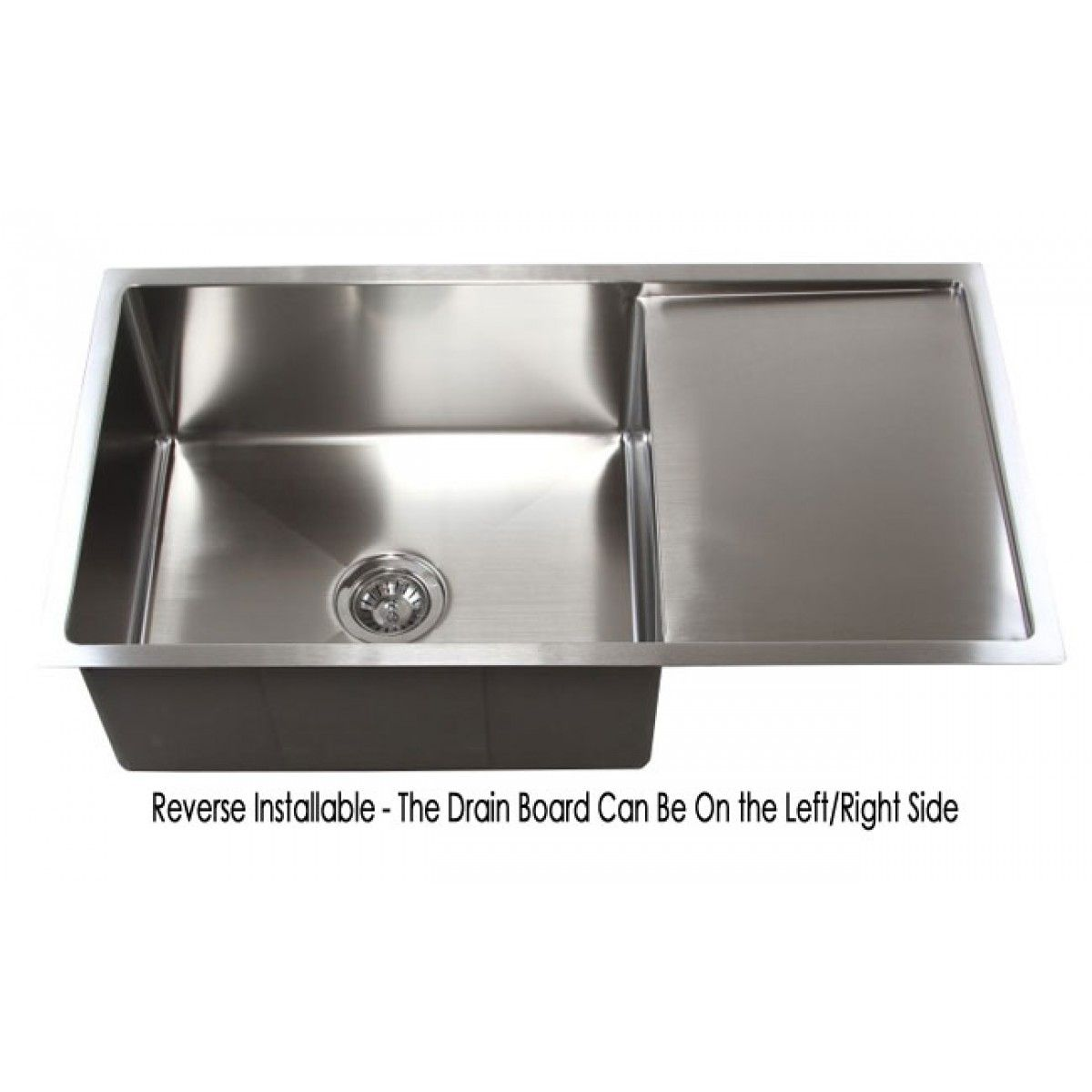 36 Inch Stainless Steel Undermount Single Bowl Kitchen Sink With Drain Board