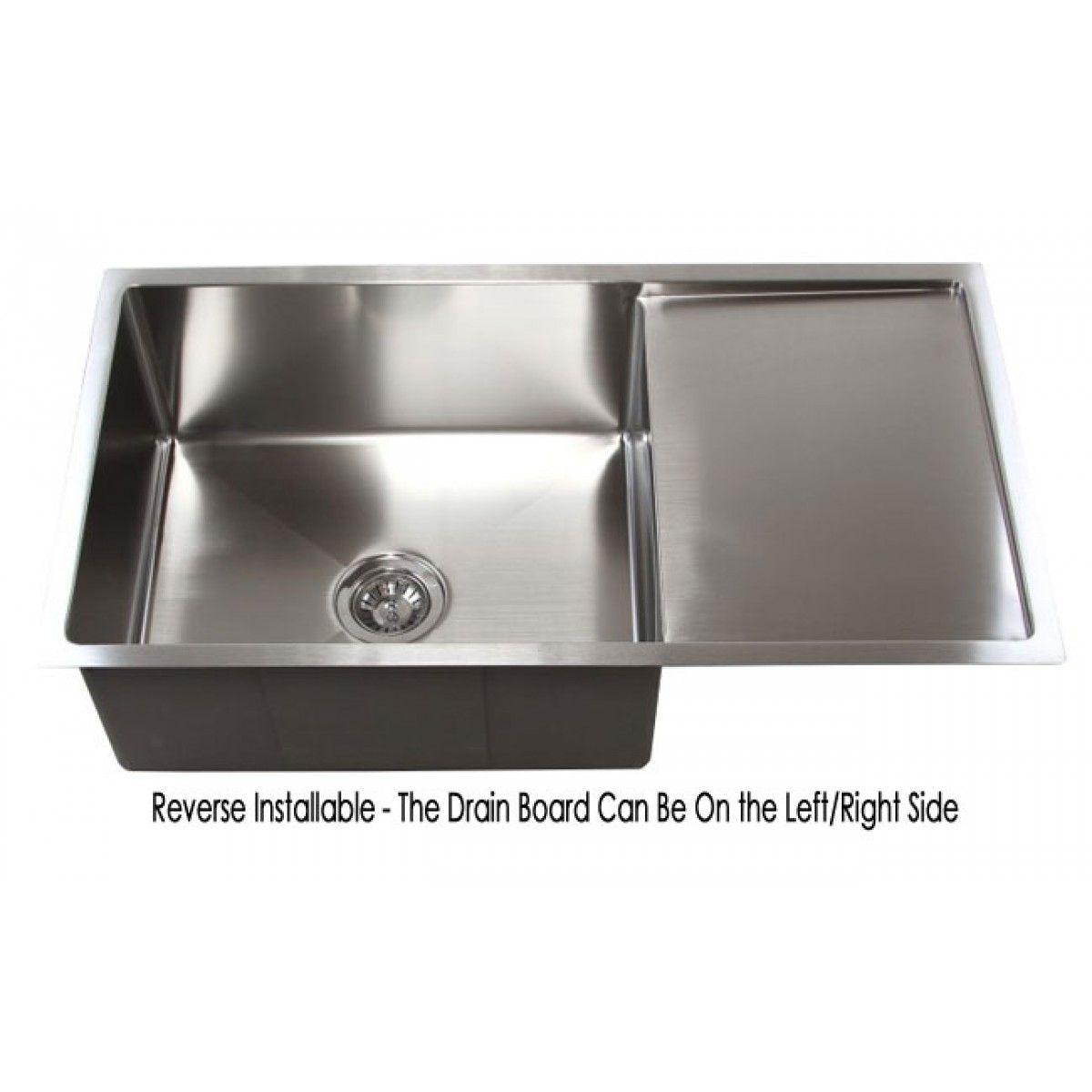 Delightful 36 Inch Stainless Steel Undermount Single Bowl Kitchen Sink With Drain Board