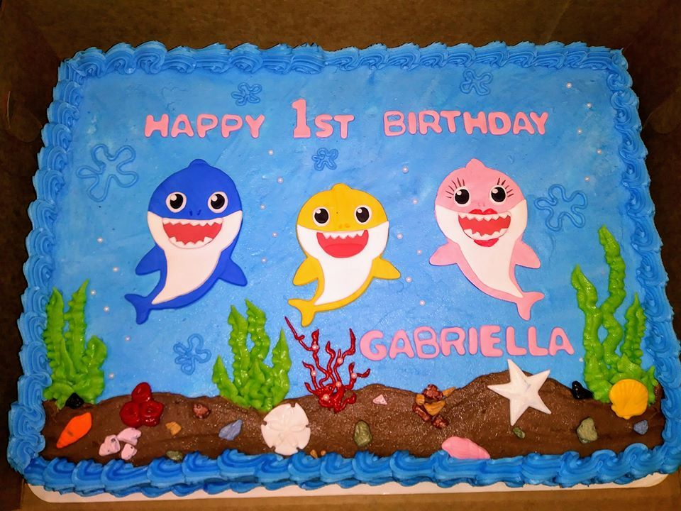 Baby Shark 1 2 Sheet Cake With Images Shark Themed Birthday
