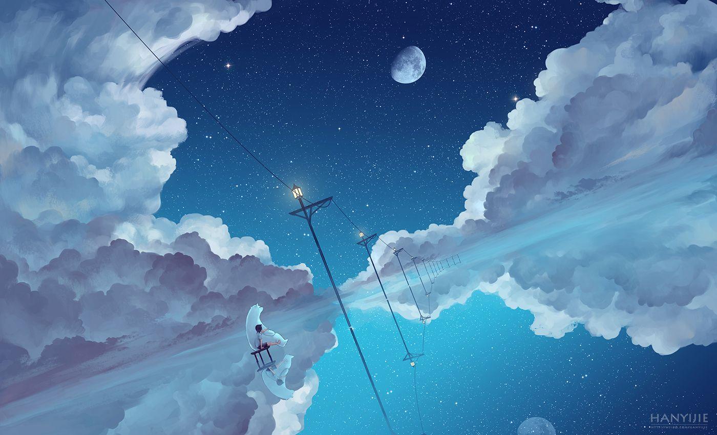 Animal Bear Clouds Kklaji008 Moon Original Scenic Sky Stars Water