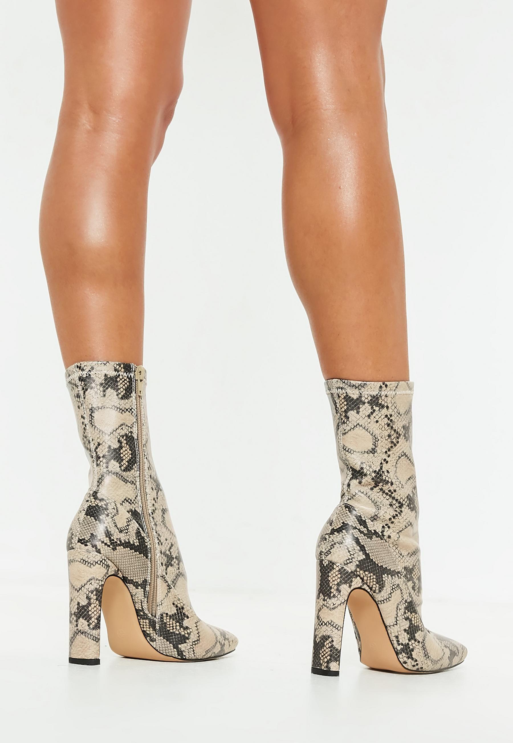 988f33eeb9ec Nude Snake Illusion Heel Sock Ankle Boots | Missguided Australia ...