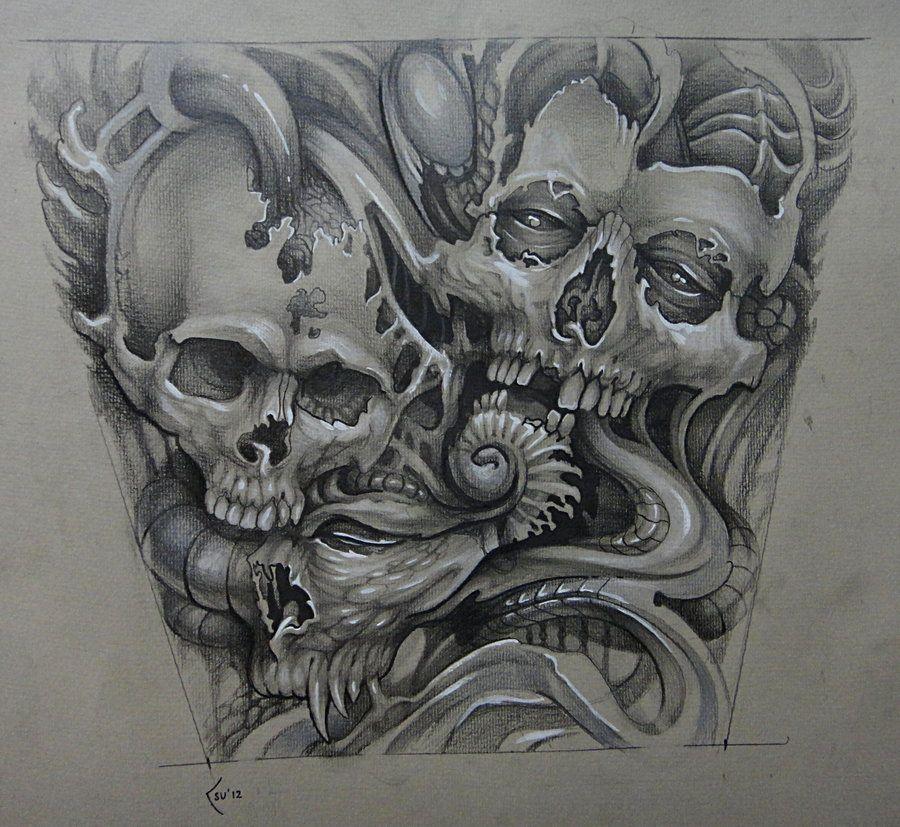 Skull Tattoo Designs Drawings Tattoo Design Organic Skulls By Xenija88 On Deviantart Skulls Drawing Skull Tattoo Tattoo Design Drawings