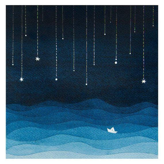 Print sailboat sea blue night stars watercolor illustration nursery art by…