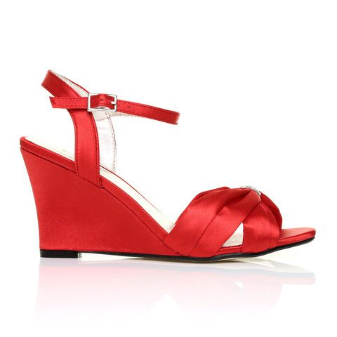 angel red satin wedge high heel strappy bridal shoes