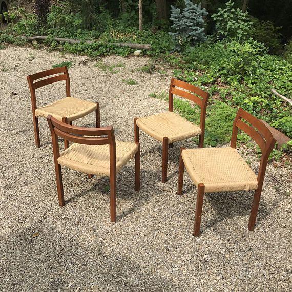 Four Set Moller Teak Dining Chairs Danish Vintage Mid Century Modern C.1969  Denmark