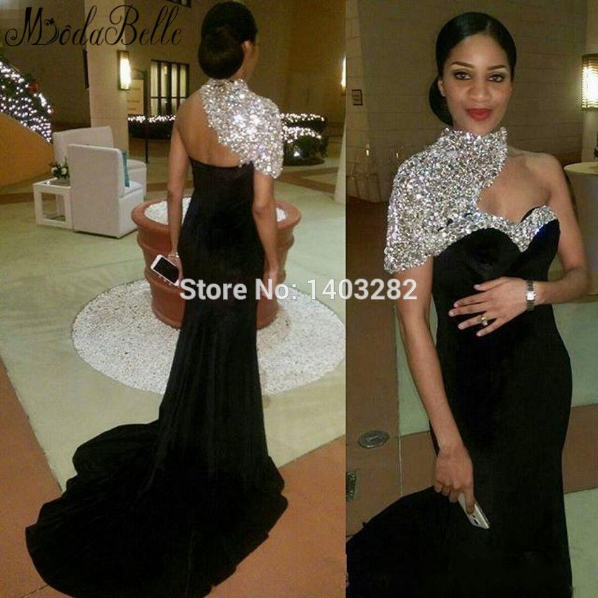 Dubai Kleider Long Black Evening Dresses With Shiny Stone Beaded ...