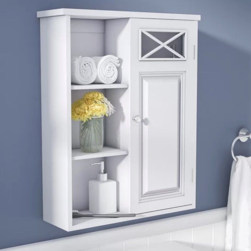 Bathroom Medicine Cabinet Wall Mount Storage Organizer Shelf White