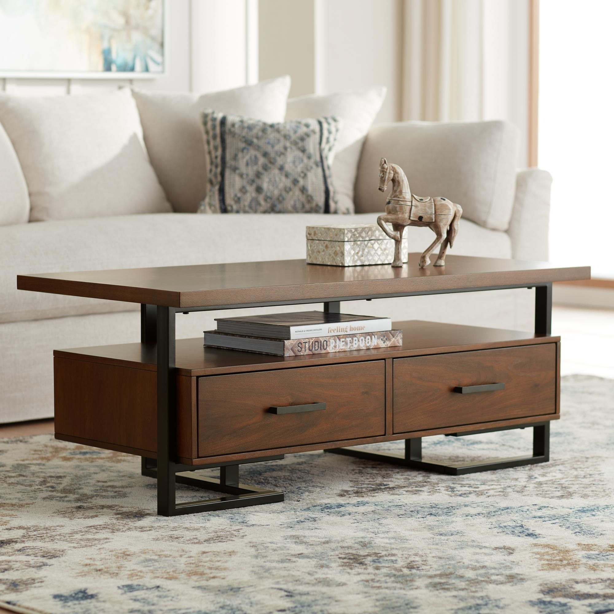 Sedley 48 Inch Wide Walnut Veneer 2 Drawer Modern Coffee Table In