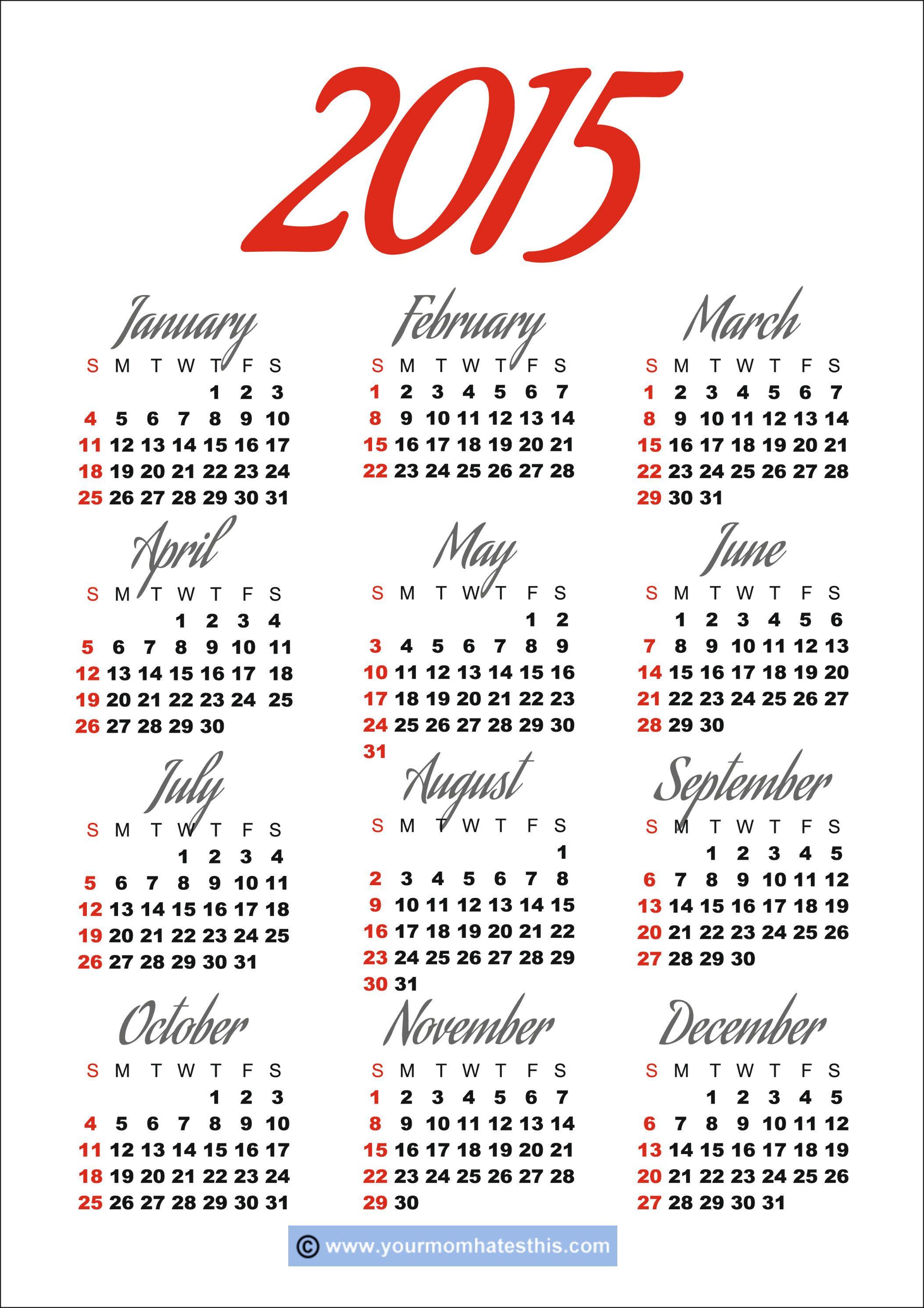 2015 calendars | 2015 Calendar | 2016 CALENDARS | Pinterest