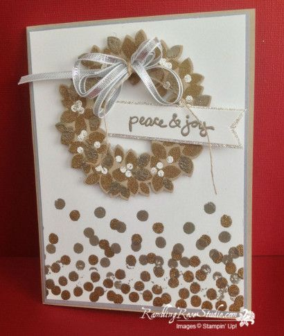 Stampin' Up! ... handmade Christmas card from Rambling Rose Studio by Billie Moan ... white with gold and silver ... Wondrous Wreath ... luv how the embossed silver, gold and white looks on kraft ... loopy bow of silver ribbon ... like way the dots on the card change in density ... great card!