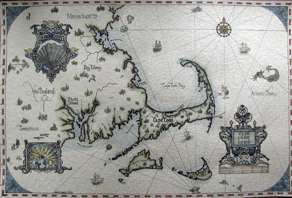 Personalized  Antique Looking Map of Cape Cod area by BrydenArt.com, $75.00