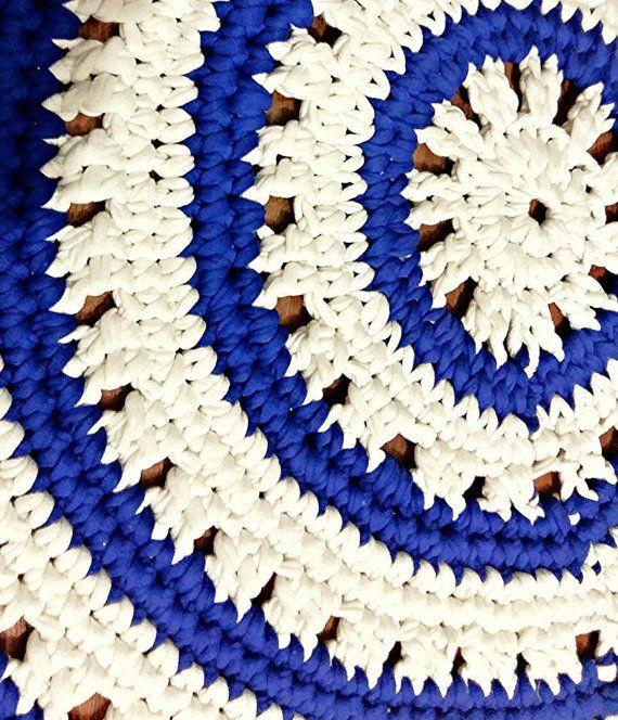 blue Rug white Rug crochet doily sea style by fairyknittingstudio