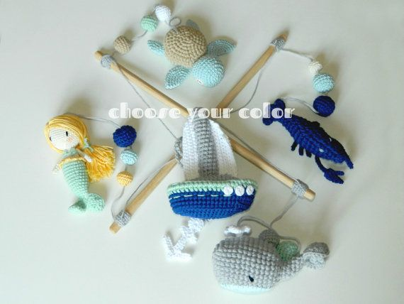 Baby mobile Mermaid Sailboat sea Turtle Lobster whale Crib mobile ...